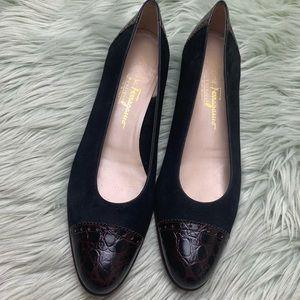 Salvatore Ferragamo Black & Brown Suede Shoes